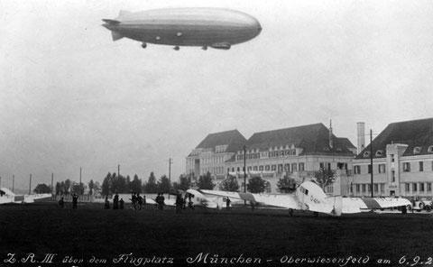 Das nördliche Ende des Flugplatz Oberwiesenfeld entlang der Moosacher Straße. Aufnahme von 1924 Quelle: Knorr-Bremse AG