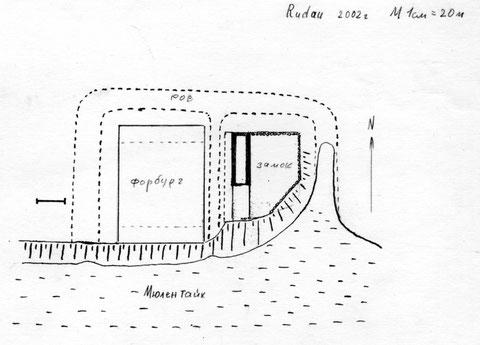 план замка Рудау, обмеры 2000 г. П Бахтин