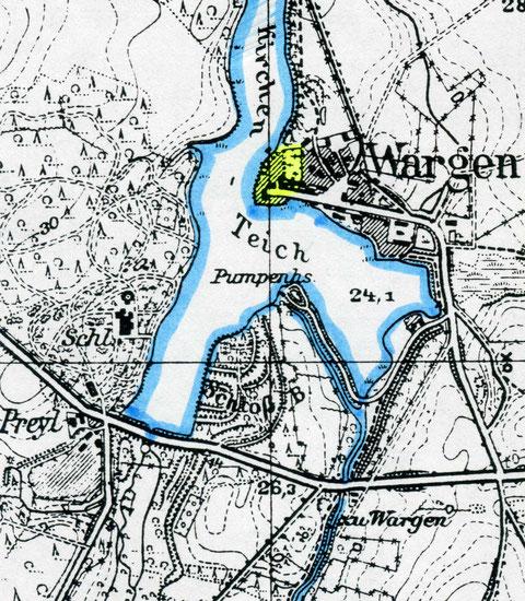 Карта Варгена 1936 г желтым цветом выделено место где распологался замок.