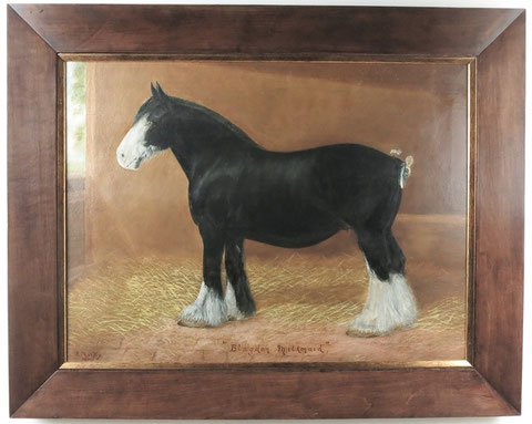 English 19th century folk art oil painting of a workhorse in his stable