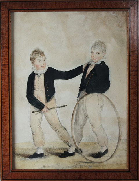 English 19th century folk art watercolour of brothers