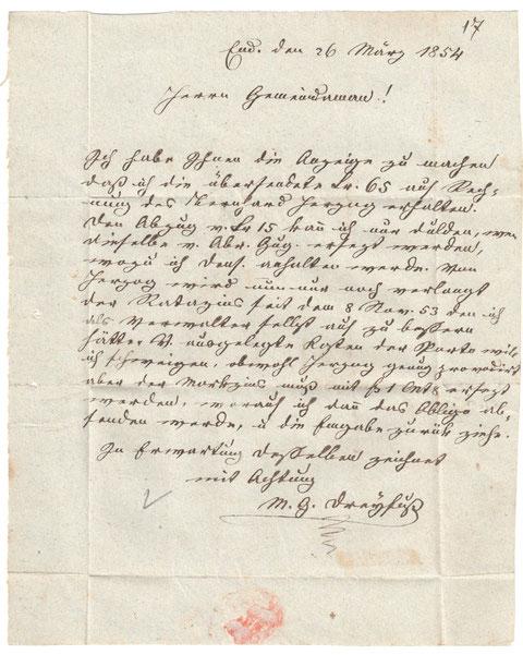 Brief von M.G. Dreyfuß, Endingen, an den Wittnauer Gemeindeammann.