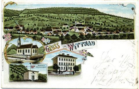 Gruss aus Wittnau (Lithographie aus dem Verlag Max Roon, Zürich; 1901)