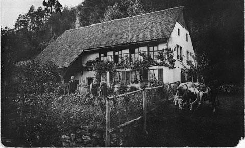 Familie Hans Bösiger-Leuenberger vor dem Hornhof (um 1920; Foto: Ammann, Frick)