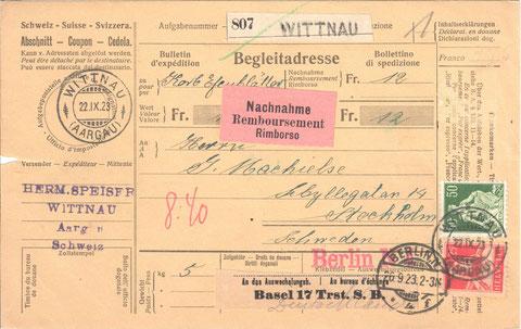 Nachnahme-Karte aus dem Jahr 1923: Hermann Speiser  sandte einen Korb Efeublätter via Berlin nach Stockholm. Der Kunde bezahlte dafür Fr. 12.–  .