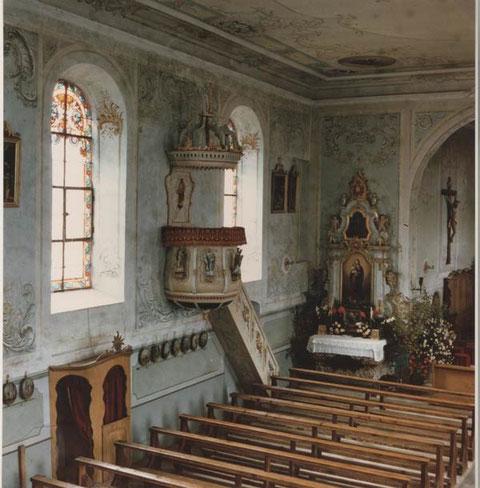 Vor der Innenrenovation von 1952: Kanzel (Foto: Leoni, Laufenburg)