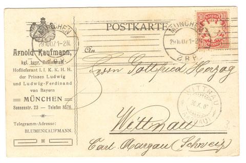 Postkarte von Arnold Kaufmann in München, königlich bayrischer Hoflieferant
