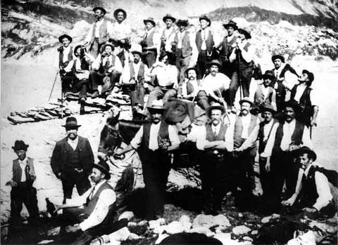 Männerchor-Reise 1908 über die Gemmi