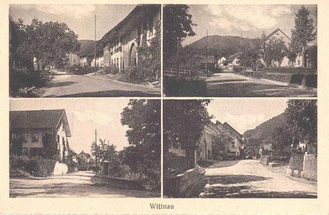 Vier Dorfpartien an der Hauptstrasse (um 1930)