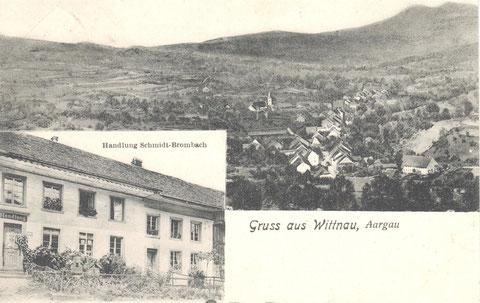 """Handlung der Familie Schmid-Brombach im Unterdorf. Als «Toura»-Laden wurde sie von Max Walde (""""Väldi-Max"""") bis ca. 1980 weitergeführt."""