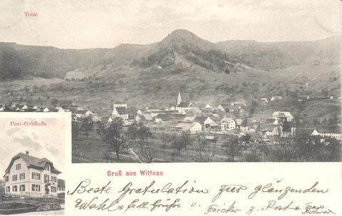 Dorfansicht und Detail-Aufnahme der Post. Absender dieser Karte von 1916 war der Posthalter Fricker selbst.