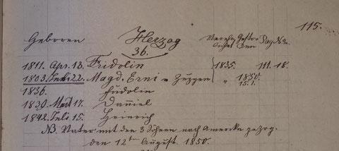 NB. Vater mit den 3 Söhnen nach Amerika gezog[en] den 12ten August 1850.