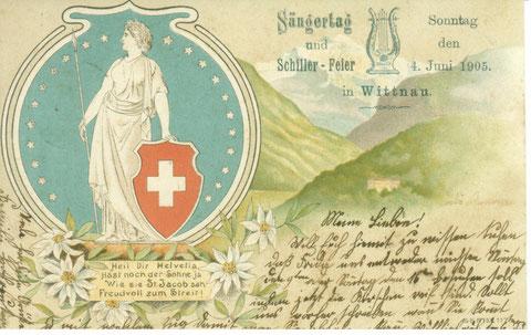Helvetia statt Rütlischwur: Auch diese Karte zeigte ein patriotisches Motiv.