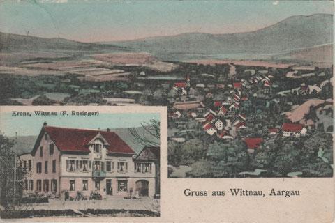 eine zweiteilige Karte aus dem Jahr 1910 (Lichtdruck, coloriert)