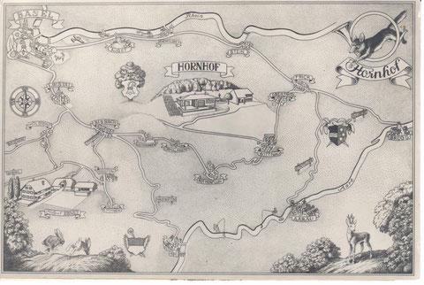 Wie finde ich den Weg zum Jagdhaus beim Hornhof?  Alles Unwichtige ist auf dieser Wegskizze verkleinert gezeichnet oder weggelassen: Wittnau, Frick, Aarau ...