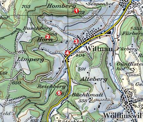 1: Burgruine Alt-Homberg; 2: Refugium Wittnauer Horn; 3: Villa rustica, Oberer Kirchweg; 4:  Bronzezeit-Siedlung Hutte; 5: Fundstelle Reichberg