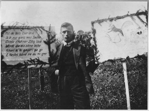 """Adolf Walde, """"Sunnewirts"""" am Eierlesen"""