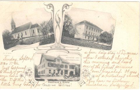 """Die drei wichtigsten Gebäude des Dorfes: Kirche, Schulhaus und """"Krone""""."""