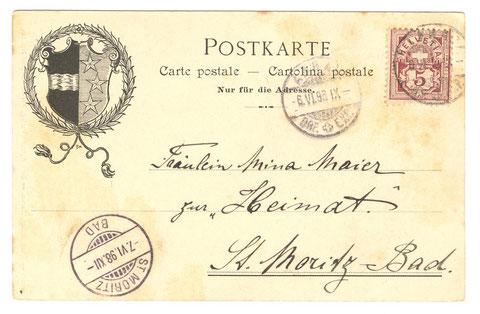 Adressseite (Bis 1905 durfte auf diese Seite der Postkarte keine Mitteilung geschrieben werden.)