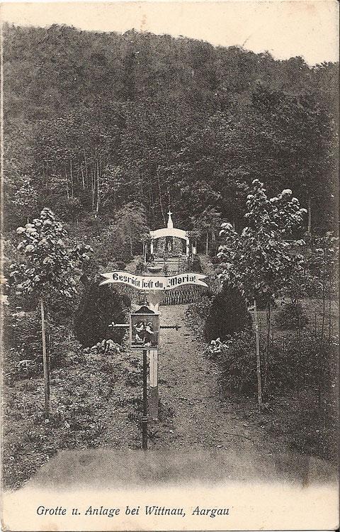 Eine Ansichtskarte aus der Gründerzeit der Lourdesgrotte, abgestempelt 1908.