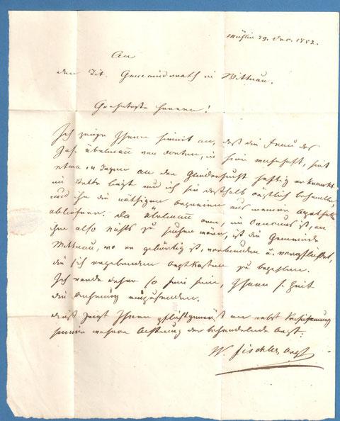 Brief von Dr. W. Fischler, Möhlin, an den Gemeinderat Wittnau (29. Dec. 1852)