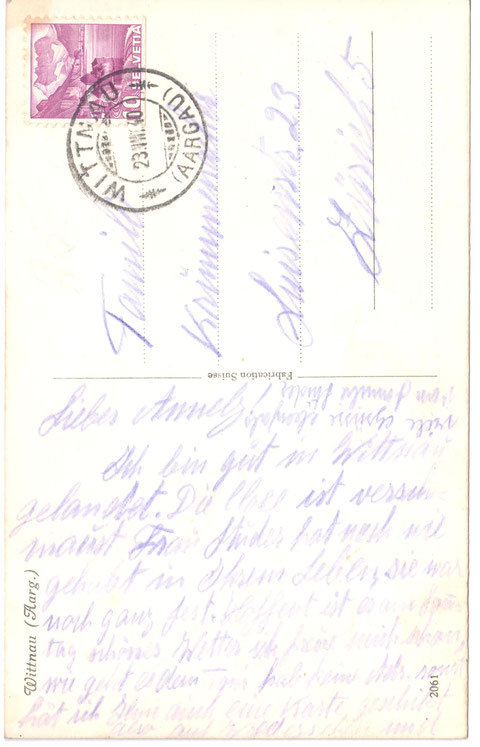 Postkarte, abgestempelt am 23. August 1940