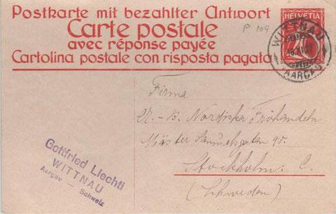 abgestempelt in Wittnau am 16. November 1927
