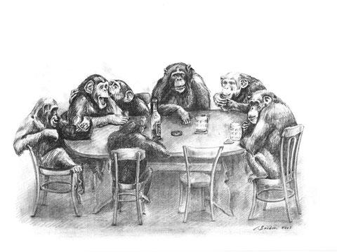 Affen am Stammtisch