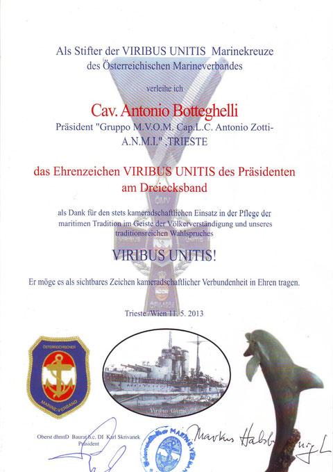 Attestato al Pres. ANMI TRIESTE Cav. A. Botteghelli