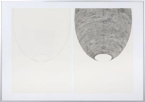 Hülle I, je 55 x 42 cm, Bleistift auf Papier, 2012