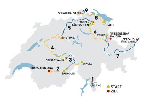 Streckenplan Tour de Suisse 2011