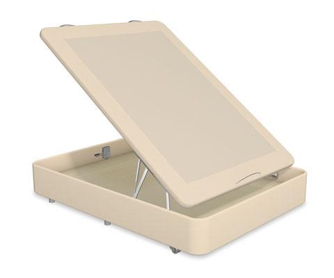 Canapé abatible Quality con tapa tapizada en Thermofress y estructura de acero con base de madera.