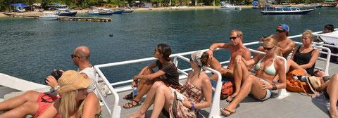 Sun deck / roof top of Eka Jaya's fast boat, backpacker's favorite, luxury sea transfer for Bali and Lombok