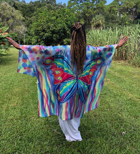 colorful flowing silk tunic with Butterflies