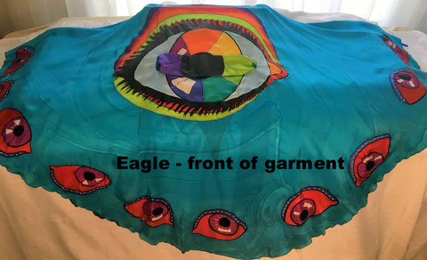 Sky Blue Cape Garment with large eye in center, small eyes all around