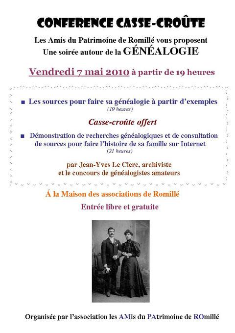 Affiche conférence Généalogie