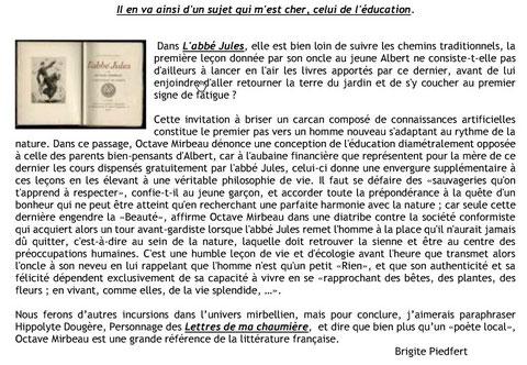 """Commentaire sur le roman """"L'abbé Jules"""" d'Octave Mirbeau, paru dans la revue Marais Page de septembre 2016"""