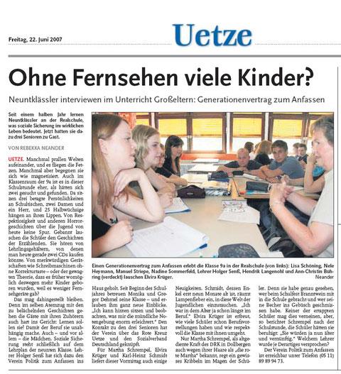 Anzeiger für Burgdorf und Uetze über SoSi an der Realschule Uetze