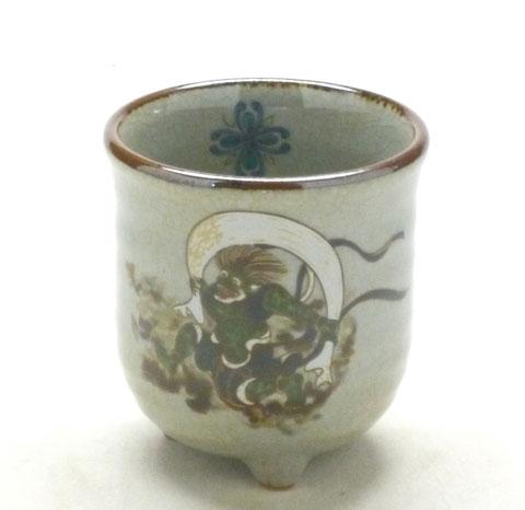 九谷焼【三つ足湯呑】ソメイヨシノ緑塗り『中裏絵』