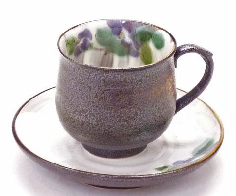 九谷焼 カップ&ソーサー 紫椿