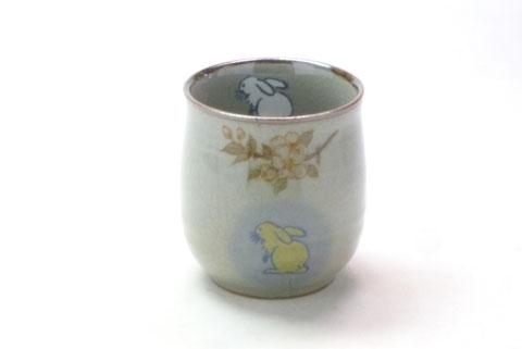 九谷焼『お湯呑』大 白兎しだれ桜『中裏絵』