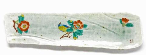 九谷焼『焼き魚用長皿』椿に鳥&なでしこ『裏絵』