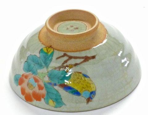 九谷焼『飯碗』小 椿に鳥『中絵』