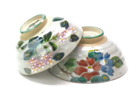 九谷焼通販 おしゃれな飯碗 ご飯茶碗 ペア飯碗 がく紫陽花ピンク+ピンク&山茶花