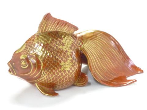 九谷焼『縁起置物』金襴手金魚