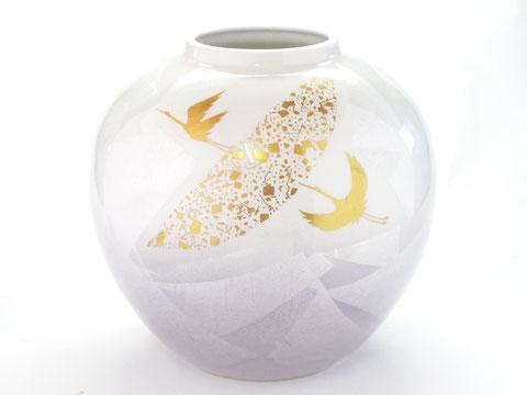 九谷焼 7号花瓶 銀彩鶴