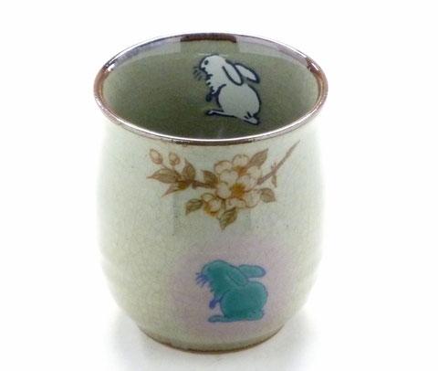 九谷焼 お湯呑 大 白兎しだれ桜 中裏絵