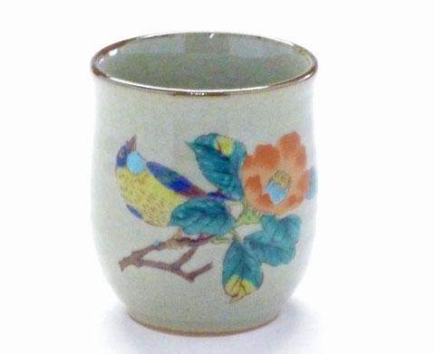九谷焼【お湯呑】小 椿に鳥『裏絵』