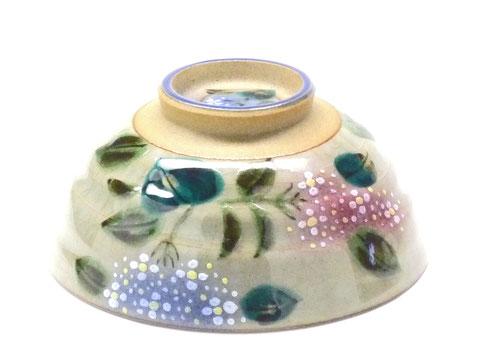 百華園-九谷焼飯碗 大 がく紫陽花 裏絵