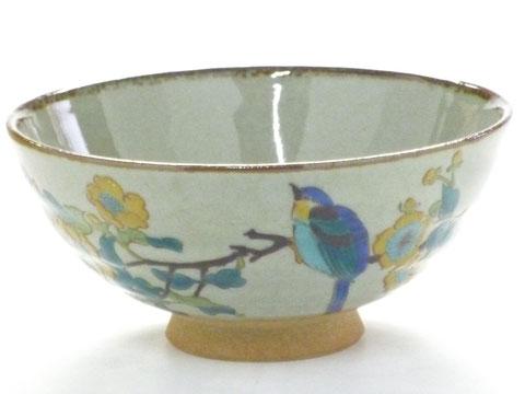 九谷焼『飯碗』大 金糸梅に鳥